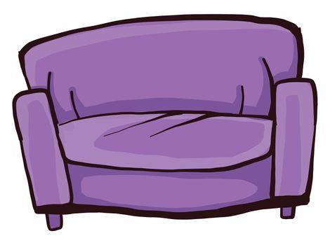 Purple sofa , illustration, vector on white background