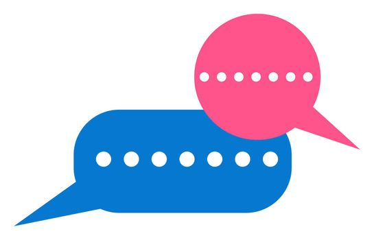 Online chat bubble, illustration, vector on white background
