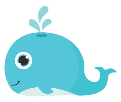 Cute blue whale , illustration, vector on white background