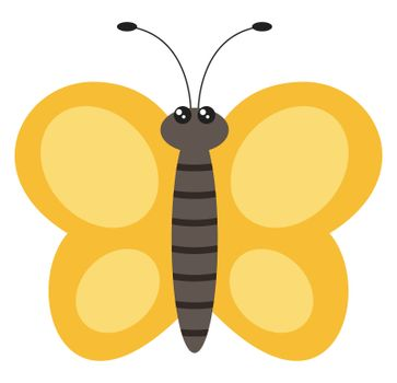 Yellow butterfly, illustration, vector on white background