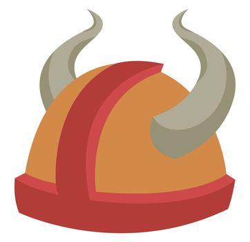 Viking helmet, illustration, vector on white background