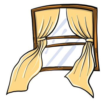 Window with curtains , illustration, vector on white background