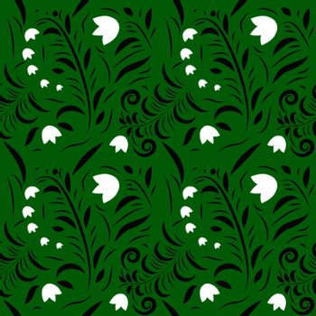 flower print pattern background with leaves, flowers, berries, swans, rowanberry for fabrics, wallpaper, interior, wall-coverings.