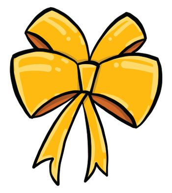 Yellow bow , illustration, vector on white background