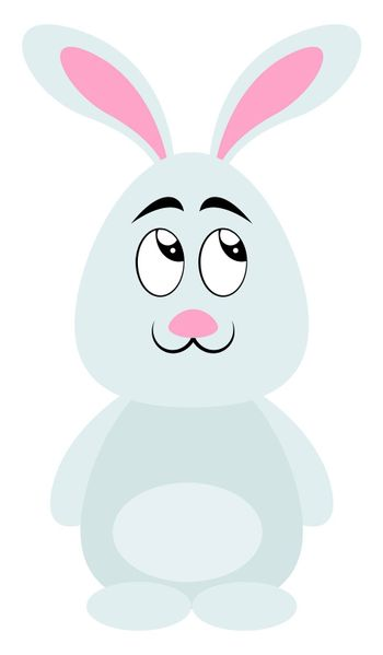 White cute bunny, illustration, vector on white background