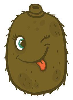 Winking kiwi fruit , illustration, vector on white background