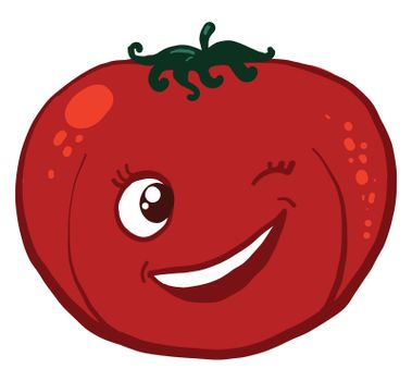 Winking tomato , illustration, vector on white background