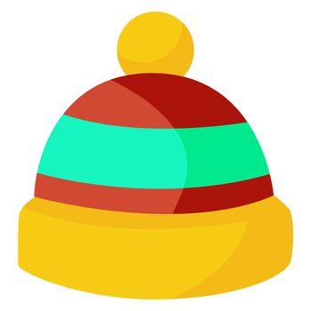 Yellow kid winter hat, illustration, vector on white background