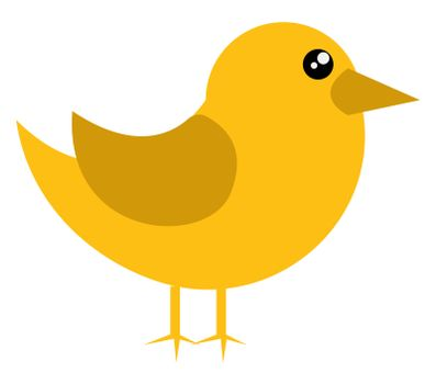 Small yellow bird, illustration, vector on white background