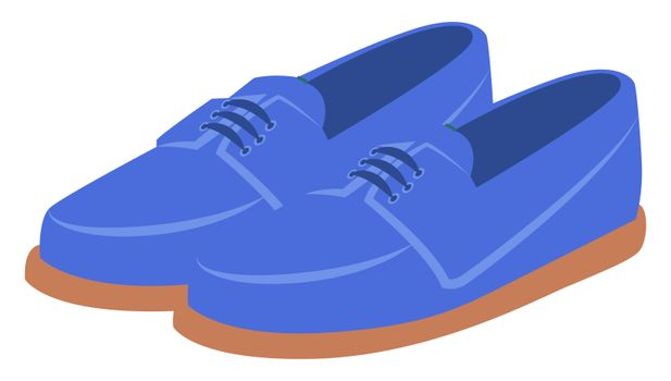 Flat blue man shoes, illustration, vector on white background