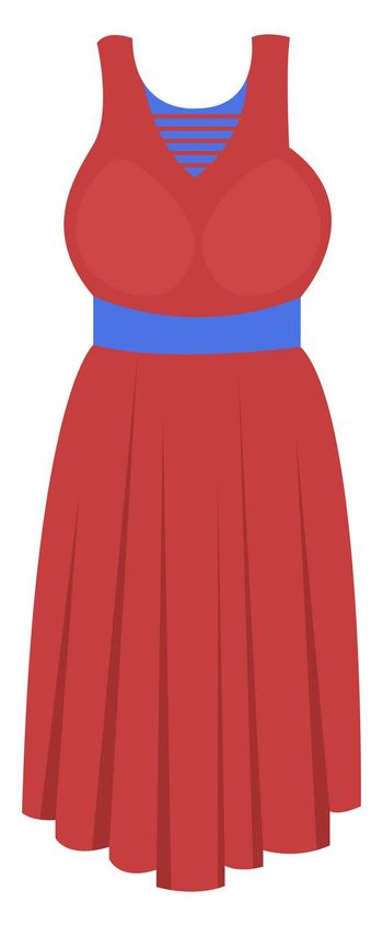 Red woman dress, illustration, vector on white background