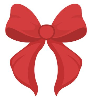 Red bow, illustration, vector on white background