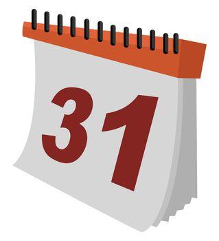Calendar in color, illustration, vector on white background
