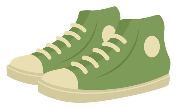Green man sneakers, illustration, vector on white background