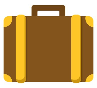 Brown briefcase, illustration, vector on white background