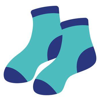 Blue socks, illustration, vector on white background