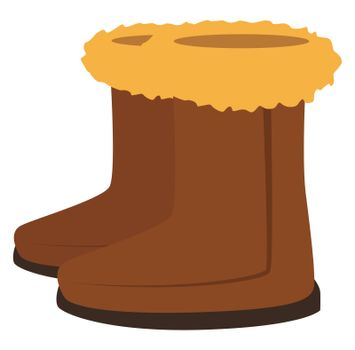 Brown winter woman boots, illustration, vector on white background