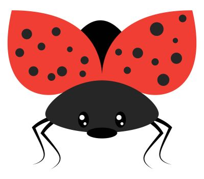 Ladybug flying, illustration, vector on white background