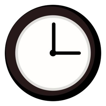 Brown clock, illustration, vector on white background