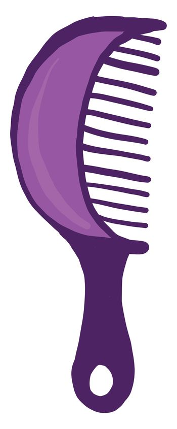 Purple hair comb , illustration, vector on white background