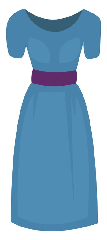 Woman blue dress, illustration, vector on white background