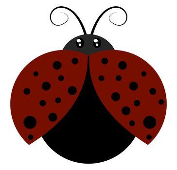 Flying ladybug, illustration, vector on white background