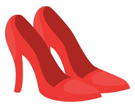 Red woman heels, illustration, vector on white background