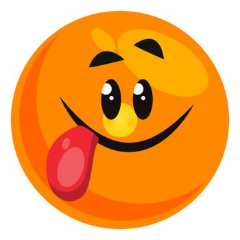 Emoji with tongue out, illustration, vector on white background