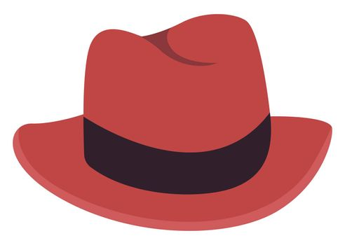 Red woman hat, illustration, vector on white background