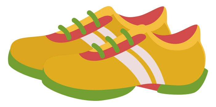 Yellow sneakers, illustration, vector on white background