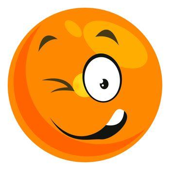 Winking smiley, illustration, vector on white background