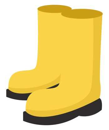 Yellow rain boots, illustration, vector on white background
