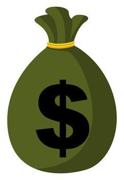 Green bag of money, illustration, vector on white background