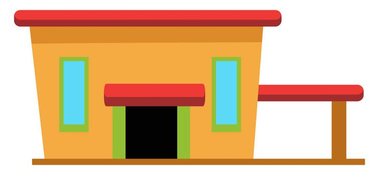 House with garage, illustration, vector on white background