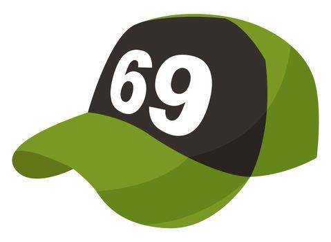 Green cap, illustration, vector on white background