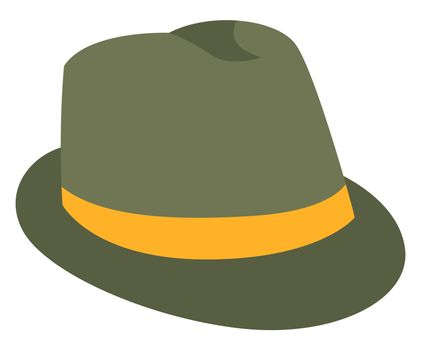 Man green detective hat, illustration, vector on white background