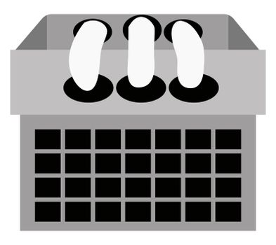 Black and white calendar, illustration, vector on white background