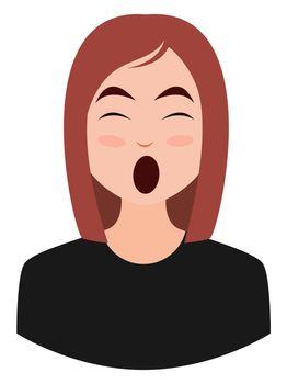 Yawning girl emoji, illustration, vector on white background