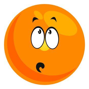 Worried emoji, illustration, vector on white background
