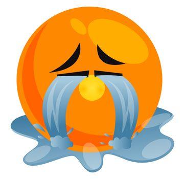 Crying hard emoji, illustration, vector on white background