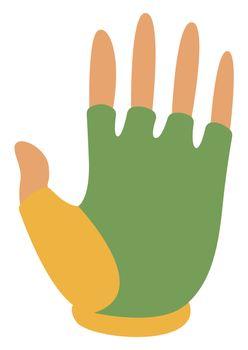 Green bike gloves, illustration, vector on white background