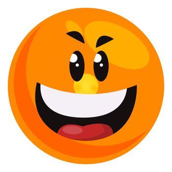 Evil laugh emoji, illustration, vector on white background