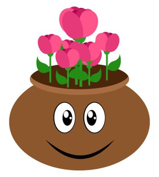 Flowers in pot, illustration, vector on white background