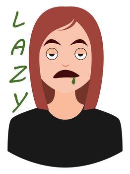 Lazy girl emoji, illustration, vector on white background