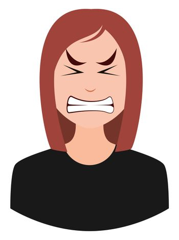 Angry female, illustration, vector on white background