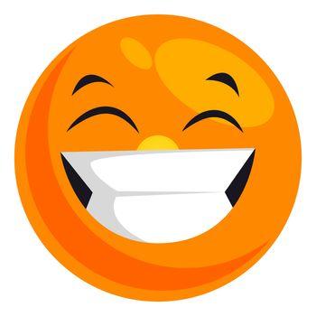 Happy smiling emoji, illustration, vector on white background