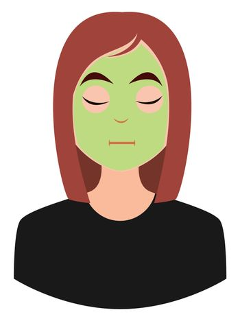Girl with face mask, illustration, vector on white background