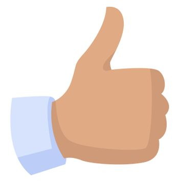 Thumbs up, illustration, vector on white background