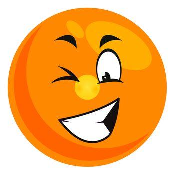 Winking emoji, illustration, vector on white background