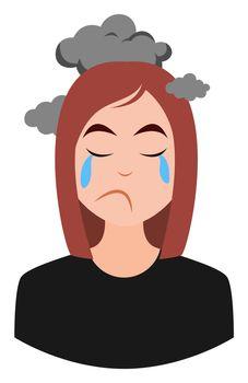 Depressed girl, illustration, vector on white background